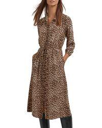 Gerard Darel Tullia Animal Print Shirt Dress - Brown
