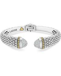 Lagos - Sterling Silver & 18k Yellow Gold Caviar Diamond Cuff - Lyst
