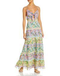 Alice + Olivia Karolina Tie Front Maxi Dress - Multicolour