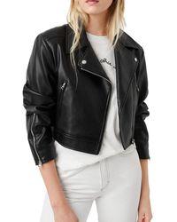 French Connection Crolenda Faux Leather Biker Jacket - Black