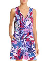 Tommy Bahama Linework Leaves Split Neck Dress Swim Cover - Up - Blue