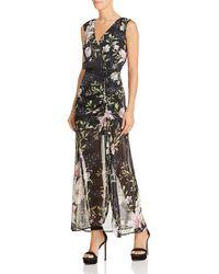 Guess - Nadira Sleeveless Metallic Floral-print Maxi Dress - Lyst