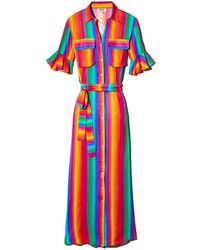 All Things Mochi Leilani Stripe-print Belted Dress - Multicolour