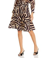 Gerard Darel Lillia Animal Print Cotton Midi Skirt - Brown