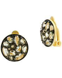 Freida Rothman - Rose D'or Pavé Cluster Clip-on Earrings - Lyst