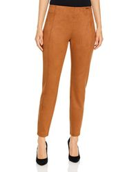 T Tahari Faux Suede Pull On Cigarette Pants - Brown