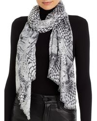Fraas Patchwork Animal Print Scarf - Gray
