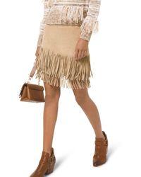 MICHAEL Michael Kors Fringe Leather Skirt - Natural