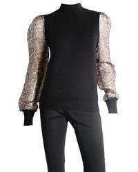 Sioni Leopard Sleeve Sweater - Black