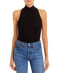 Aqua Sleeveless Mock Neck Bodysuit - Black