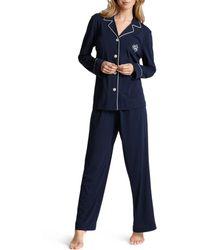 Ralph Lauren Lauren Hammond Knits Classic Pajama Set - Blue