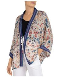 Gerard Darel Adeline Floral Print Kimono - Blue