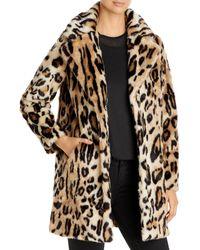 Apparis Lana Leopard Print Faux Fur Coat - Brown