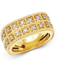 Roberto Coin 18k Yellow Gold Byzantine Barocco Diamond Two - Row Ring - Metallic