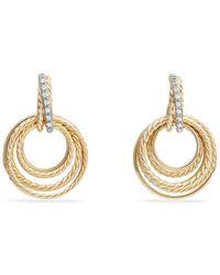 David Yurman - Crossover Drop Earrings With Diamonds In 18k Gold - Lyst