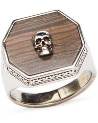 Alexander McQueen Skull Marble Signet Ring - Metallic