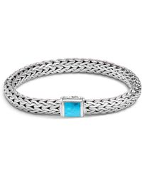 John Hardy - Sterling Silver Classic Chain Medium Bracelet With Turquoise - Lyst