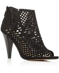 Vince Camuto Allistan Laser-cut Cone-heel Bootie - Black