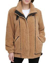 DKNY Faux Fur Teddy Coat - Multicolour