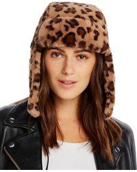Aqua Faux Fur Trapper Hat - Brown
