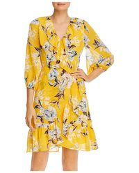 Adrianna Papell Floral Print Ruffled Dress - Yellow
