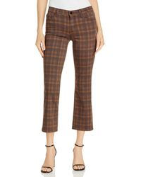 J Brand Selena Plaid Kick Flare Ankle Jeans In Molyneaux - Brown