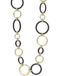 Lagos - Gold & Black Caviar Circle Chain Necklace - Lyst