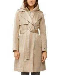 SOIA & KYO Athie Puffer - Bib Hooded Trench Coat - Natural