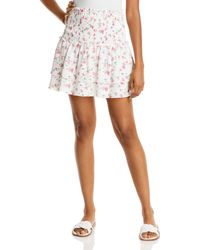 Aqua Ditsy Floral Smocked Mini Skirt - White