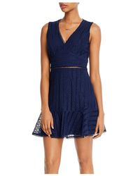 Aqua Lace Ruffled Hem Dress - Blue