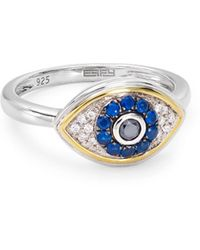 Bloomingdale's Marc & Marcella Diamond Evil Eye Ring In Sterling Silver & 14k Gold - Plated Sterling Silver - Metallic