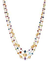Marco Bicego 18k Yellow Gold Africa Colour Multi Gemstone Three - Strand Necklace - Metallic