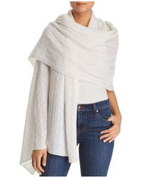 C By Bloomingdale's - Cable-knit Cashmere Travel Wrap - Lyst