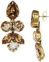 Sorrelli Lotus Bloom Swarovski Crystal Drop Earrings - Metallic
