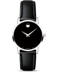Movado Museum Classic Black Leather Strap Watch