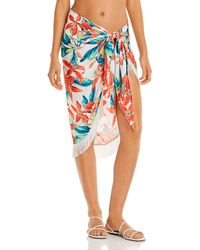 Vince Camuto Fringe Printed Pareo Swim Cover - Up - White
