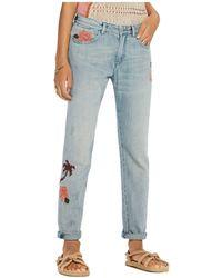 Scotch & Soda - Bandit Floral Embroidered Slim Boyfriend Jeans In Blue - Lyst