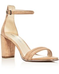 Kenneth Cole Lex Suede Ankle Strap Block Heel Sandals - Natural