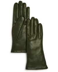 Bloomingdale's Cashmere Lined Leather Gloves - Green