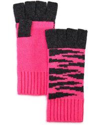 Aqua Tiger Fingerless Cashmere Gloves - Pink