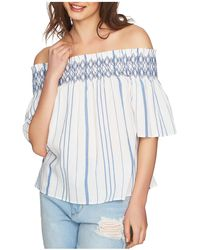 1.STATE - Striped Smocked Off-the-shoulder Top - Lyst