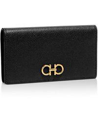 Ferragamo Score Mini Leather Continental Wallet - Black