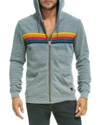Aviator Nation Striped Zipper Hoodie - Multicolor