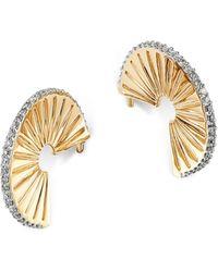 Adina Reyter - 14k Yellow Gold Pavé Diamond Rays J Hoop Earrings - Lyst