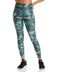 Aqua Athletic Camo Print Knit Leggings - Green