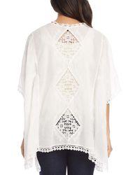 Karen Kane Crochet Trim Open - Front Kimono - White