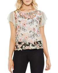 Vince Camuto - Sheer Sequined Floral Top - Lyst