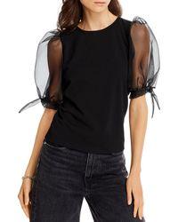 Aqua Sheer Puff - Sleeve Top - Black