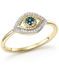 Adina Reyter - 14k Yellow Gold Tiny Pavé White & Blue Diamond Evil Eye Ring - Lyst