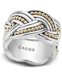Lagos - 18k Gold & Sterling Silver Torsade Ring - Lyst